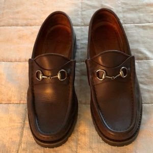 Gucci brown lug sole loafers